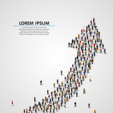 Large group of people in the shape of an arrow. Vector illustration Çizim