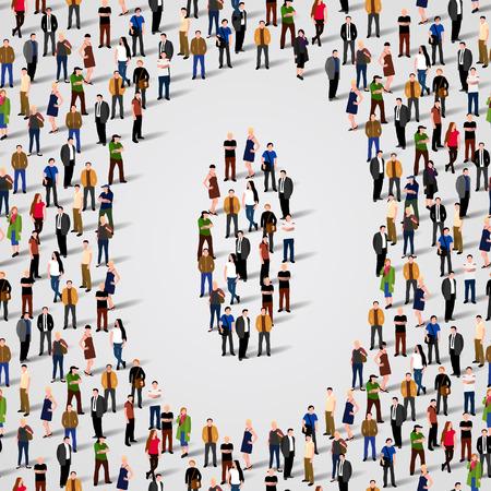 Große Gruppe von Menschen in der Zahl 0 Null-Form. Vector nahtlose Hintergrund