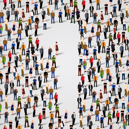 large crowd: Large group of people in number 1 one form. Vector seamless background