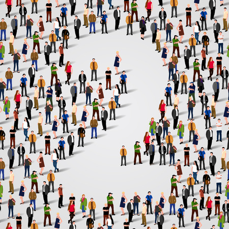 large crowd of people: Large group of people in number 2 two form. Vector seamless background