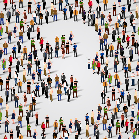 Large group of people in number 3 three form. Vector seamless background Vector