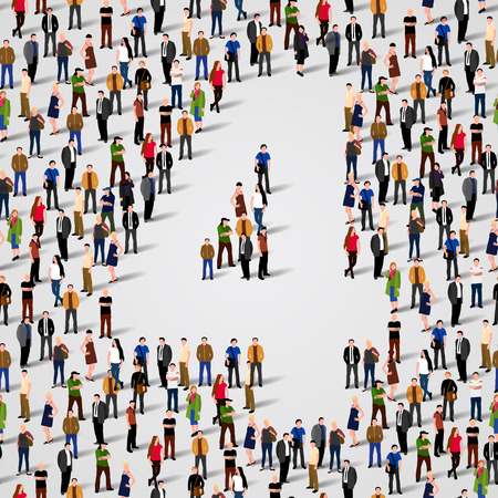 Large group of people in number 4 four form. Vector seamless background Vector