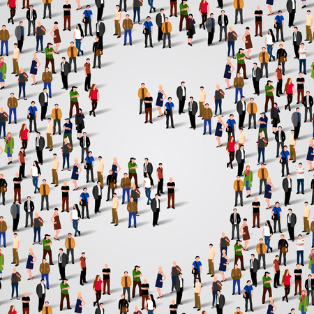 Large group of people in number 5 five form. Vector seamless background Vector