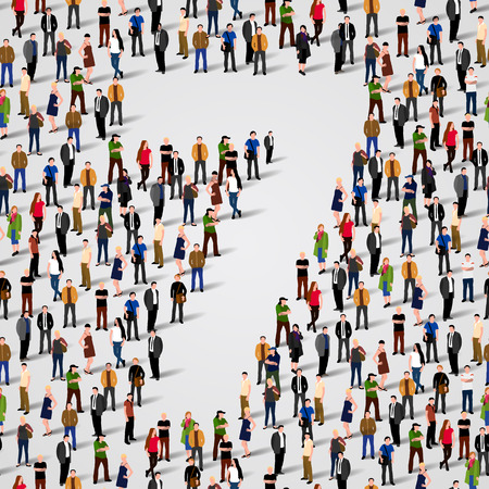 Large group of people in number 7 seven form. Vector seamless background Illustration