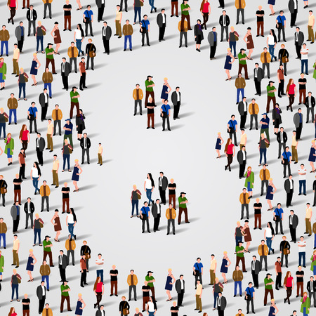 Large group of people in number 8 eight form. Vector seamless background Vector