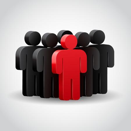 LIDER: El l�der del equipo o jefe de la empresa. Ilustraci�n del concepto 3D