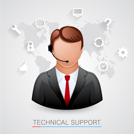 technical support: Technical support Background. Man with icons. Vector illustration