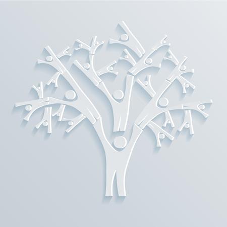 人々 の明るい背景の木。ベクトル図