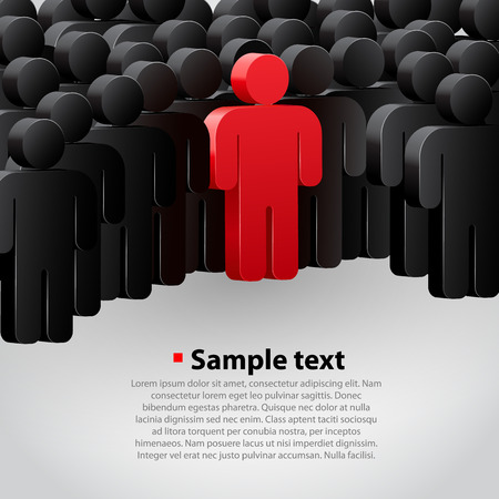 leading: Unique person in the crowd. Vector illustration