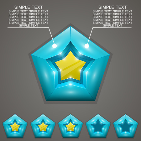 five stars: Five stars ratings with art award 3d. Vector illustration