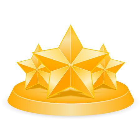 Three stars art award 3d. Vector illustration Vector