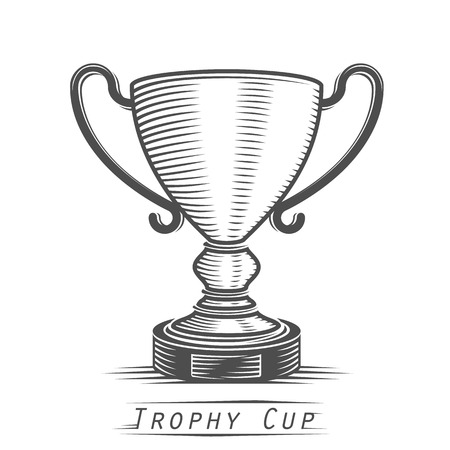goal achievement: Winner cup vintage tattoo art. Vector illustration