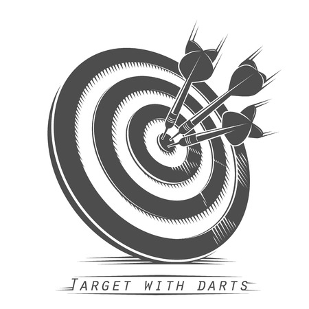 darts: Target with darts vintage tattoo. Vector illustration