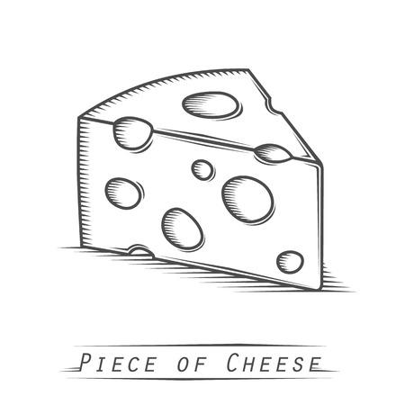 cheez: Triangular piece of cheese vintage tattoo. Vector illustration