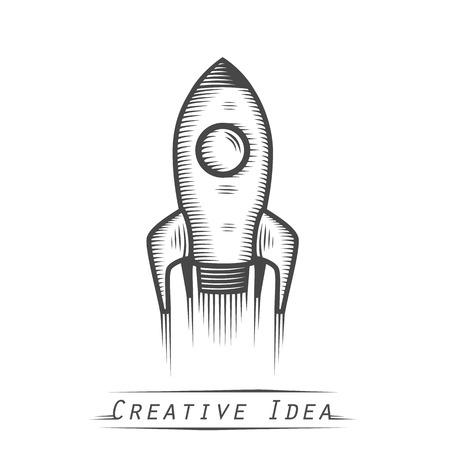 booster: Cohete de espacio arte lanzamiento tatuaje. Ilustraci�n vectorial