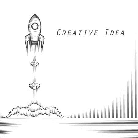 Space rocket launch tattoo art. Vector illustration Illustration