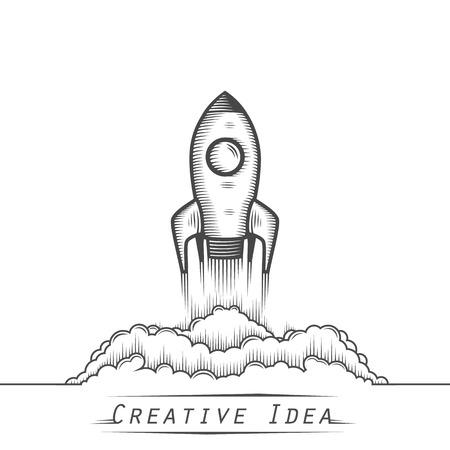 Space rocket launch tattoo art. Vector illustration 矢量图像