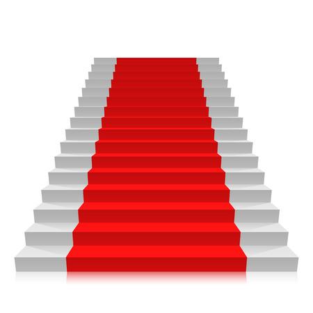 white carpet: Stair carpet on a white background. Vector illustration Illustration