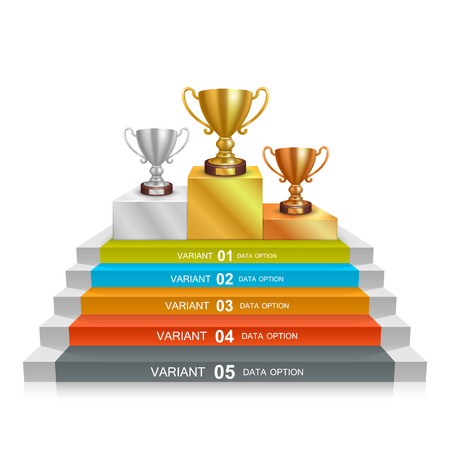 Schritt Siegerpokal art info. Vektor-Illustration