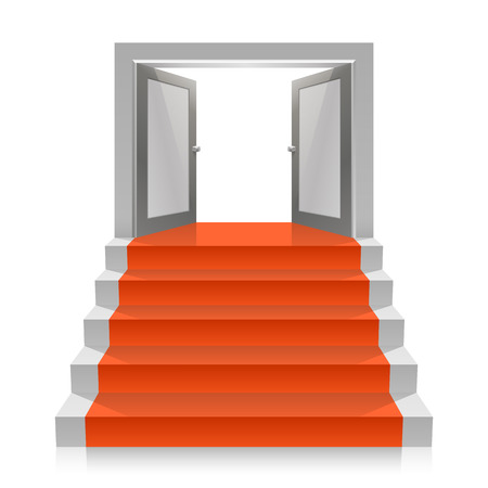 open doors: Stair with open doors art. Vector illustration