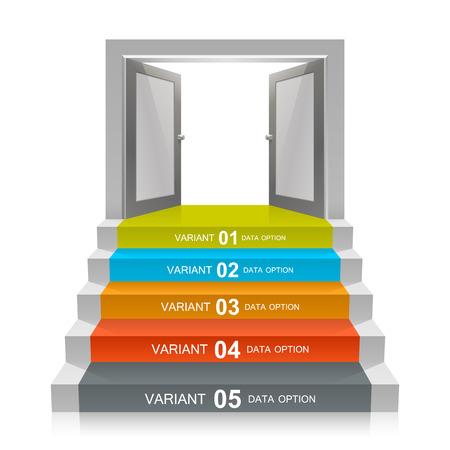 portone: Scala con le porte aperte art. Illustrazione vettoriale Vettoriali