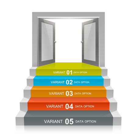 stairs interior: Stair with open doors art. Vector illustration