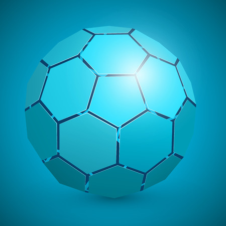 10eps: Abstract soccer 3d ball blue. Vector illustration