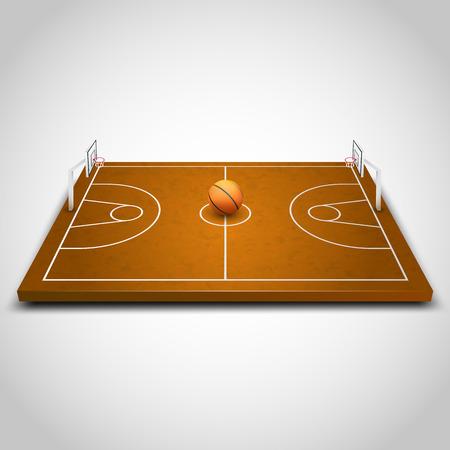 court symbol: Basketball 3d field art object. Vector illustration