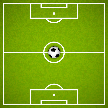 football kick: Football field with ball art cover. Vector illustration
