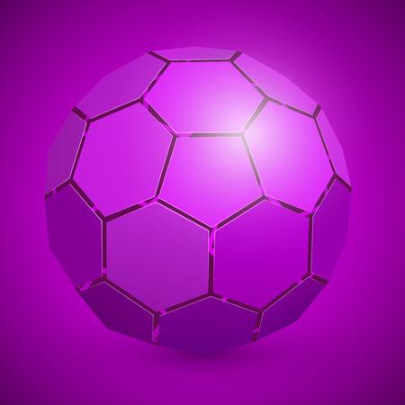 10eps: Abstract soccer 3d ball purple. Vector illustration
