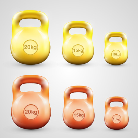 cast iron: Kettlebell establece objeto art�stico color. Ilustraci�n vectorial