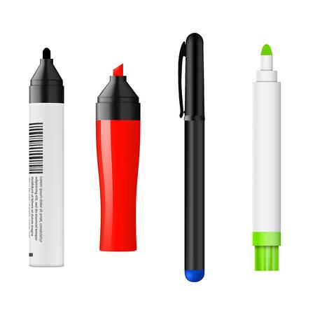 Autre ensemble de couleur de marqueur isolé sur blanc. Vector illustration.