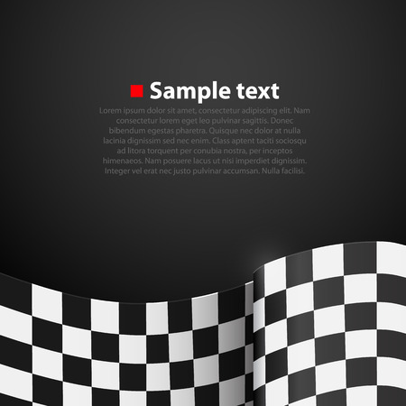 race start: Racing checkered finish flag vector on dark background. Vector