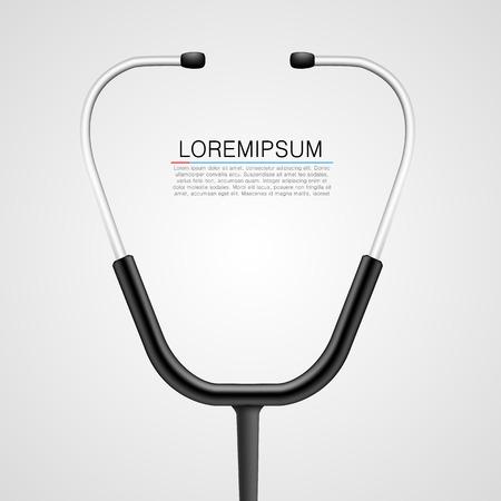 Stethoscoop heldere achtergrond. Medische concept. Vector illustratie Stock Illustratie