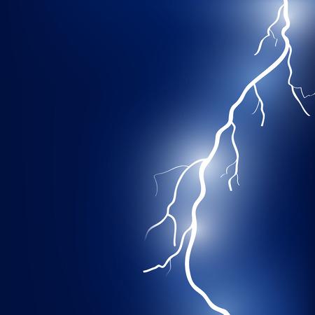 rayo electrico: Ilustración del vector del rayo brillante sobre fondo azul oscuro
