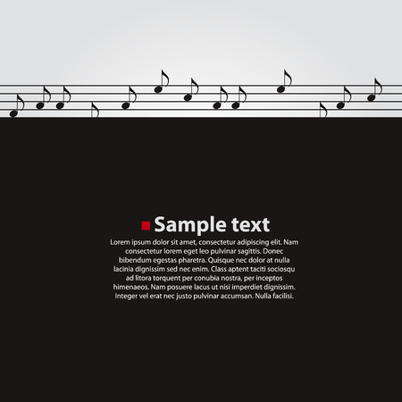 tracks live: Musical vector dark background. Notes fly away