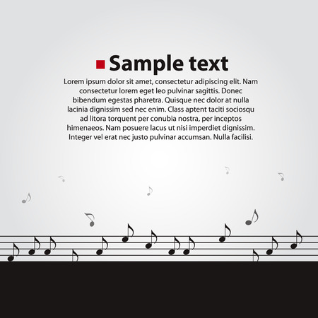 Musical vector dark background. Notes fly away