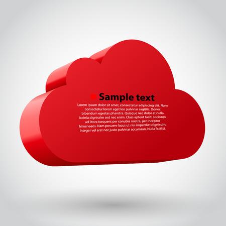 Cloud 3d glossy icon symbol. Vector illustration. Vector