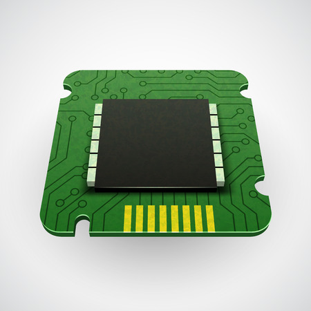 computer art: Vector computer chip or microchip. Stylized icons. CPU Illustration