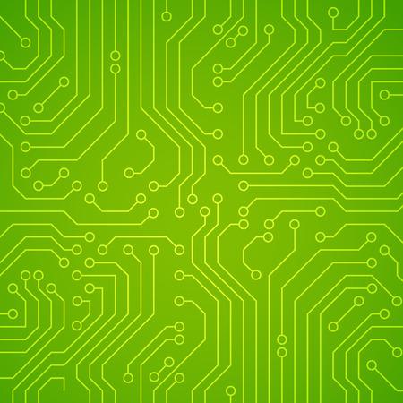 Vector circuit board or microchip. Green vector background Vectores