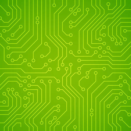 Vector circuit board or microchip. Green vector background Stock Illustratie