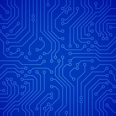 circuito electrico: Placa de circuito Vector o microchip. Vector de fondo azul Vectores