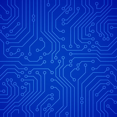 Vector circuit board of microchip. Blauwe vector achtergrond Stock Illustratie