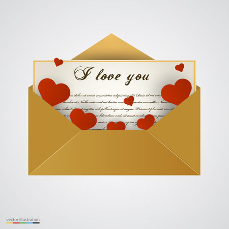 Envelop with letter and hearts. Vector illustration. Illustration