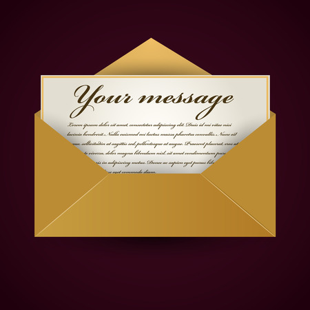 holly day: Old opened envelop with letter. Vector illustration Illustration