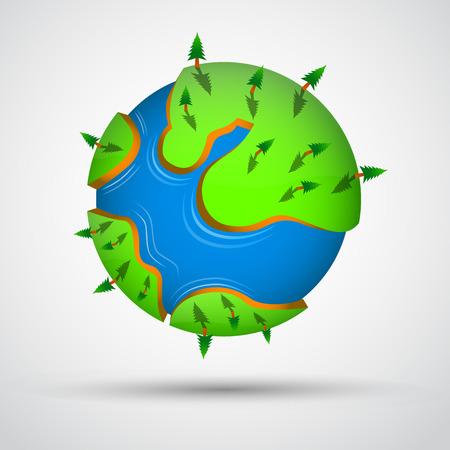 tierra caricatura: El planeta tierra historieta con los �rboles. Ilustraci�n vectorial