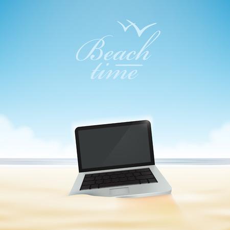 man using laptop: Laptop computer in the beach sand. Vector illustration. Illustration
