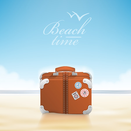 sunny beach: Luggage with traveling stickers at sunny beach. Vector illustration Illustration