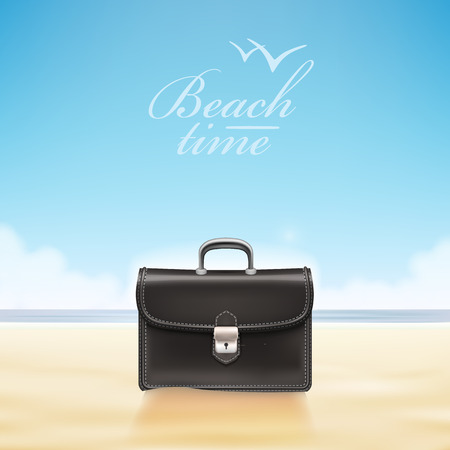 sunny beach: Business suitcase at sunny beach. Vector illustration Illustration
