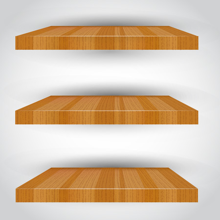empty shelf: Three-dimensional isolated Empty shelf for exhibit. Vector illustration.